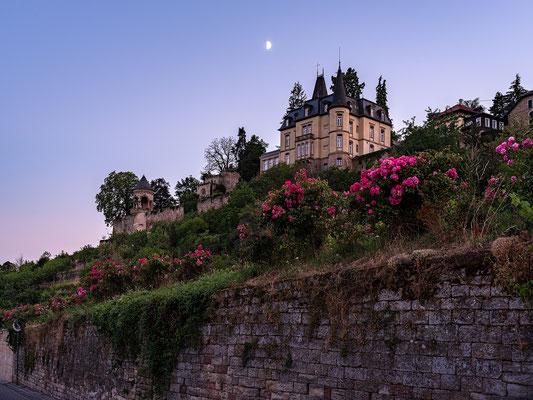 Abendstimmung mit Mond am Haardter Schloss