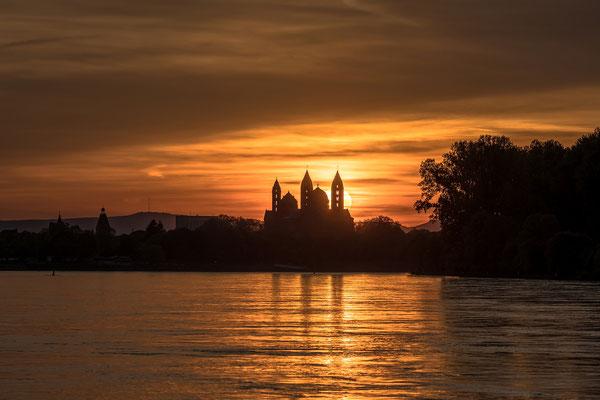 Sonnenuntergang hinter dem Speyerer Dom