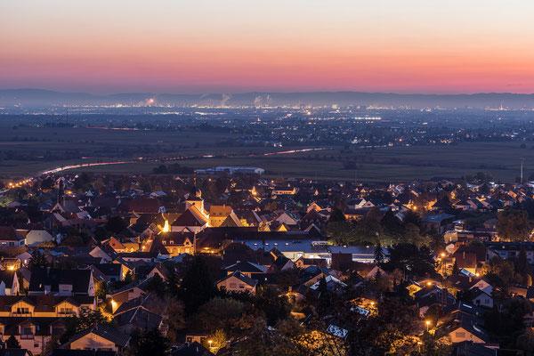 Blick über Wachenheim in die Rheinebene