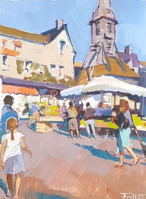 Honfleur, le marché, 31x23cm