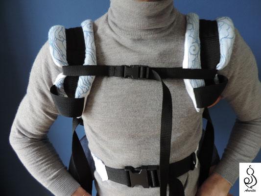 Aggancio frontale con laccetto -Posizione sulla schiena - marsupio toddler
