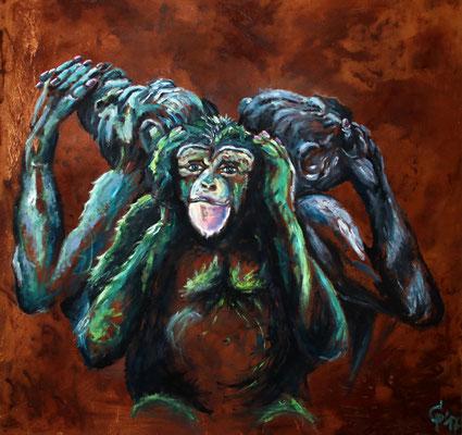 3 Affen, Ölfarbe auf Rost/Leinwand, 100x100cm