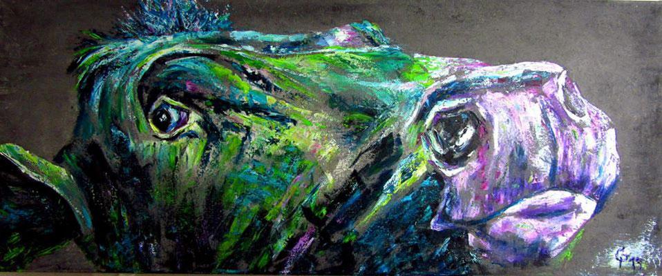 Kuh, Öl/Acryl auf Leinwand, 100x50cm
