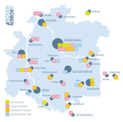 Landkreiskarte mit allen Veranstaltungen und Gastronomie-Tipps 2018