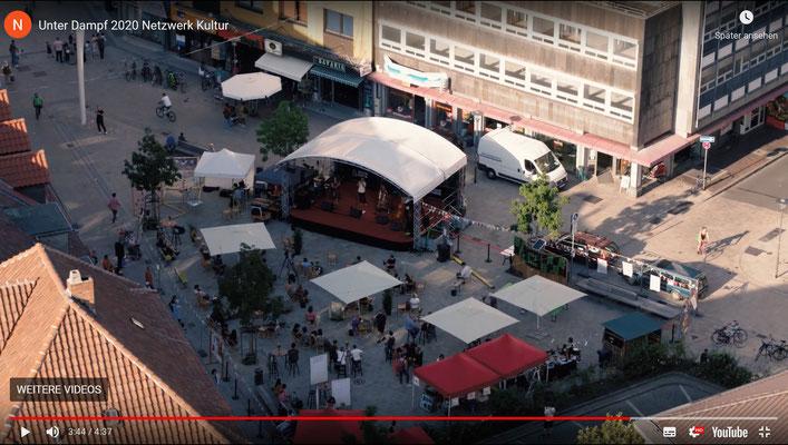 """Unter Dampf"" bei ""Urban Places Reloaded"" auf dem Hildesheimer Angoulêmeplatz. (Screenshot des Filmtrailers)"