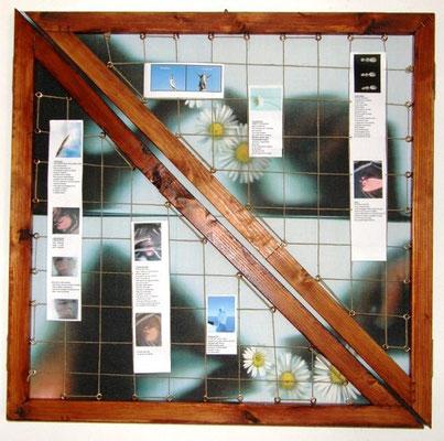 Libro d' artista n.1ANNO 2008 Tecnica utilizzata : SCANNER SU CANVES + legno – spago – immagini e poesie Dimensioni in cm. : chiuso 60 x 60 aperto 180 x 60