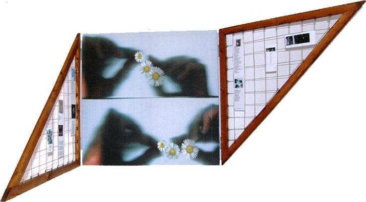 Libro d' artista n.1 ANNO 2008 Tecnica utilizzata : SCANNER SU CANVES + legno – spago – immagini e poesie Dimensioni in cm. : chiuso 60 x 60 aperto 180 x 60