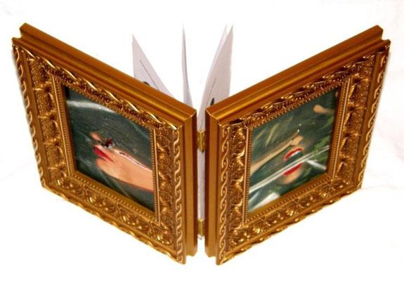 Titolo: IN FONDO ALLA NOTTE Anno : 2008 Tecnica utilizzata : SCANNER – TRANSFERT – pittura a OLIO SU CANVES + CARTA Dimensioni in cm. : chiuso 27 x 22 x 7