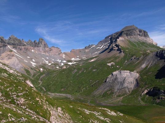 Verkürzter Aufstieg mit der Sesselbahn, und Glarner Hauptüberschiebung an den Tschingelhörnern