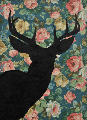 Deer at the Mirror / varnish on fabric / 43.5 × 32 cm / 2017