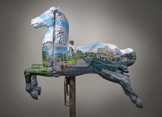 INVISIBLE / acrylics on Old merry-go-round horse / 140×110×40cm (without the base) / 2015