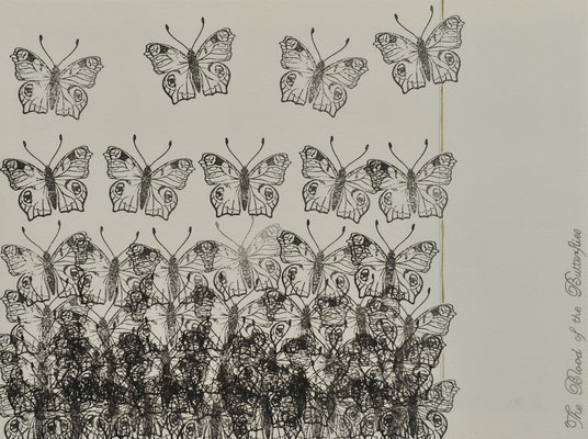 The Blood of the Butteries 3 / blood ink and pencil on carton / 20×30 cm / 2012
