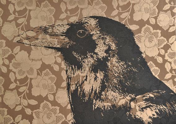 Cranky Crow / acrylic on fabric / 85 x 120 cm / 2017