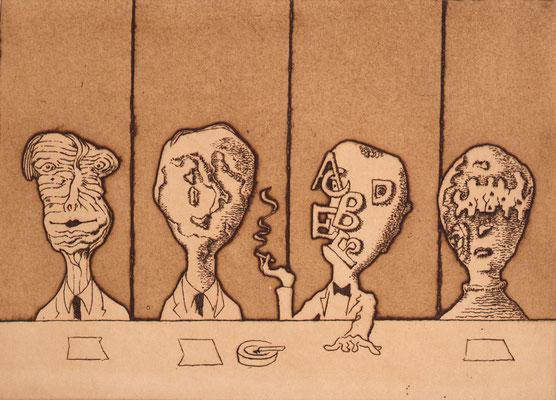 Professors / etching, aquatint / 18.3×25.6cm / 1981 「教授達」エッチング・アクアチント
