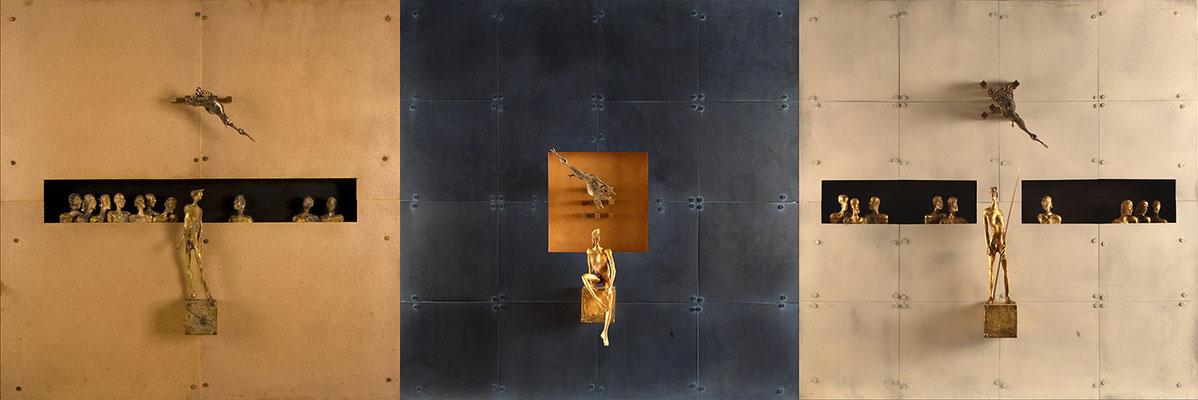 """Trittico"" Confrontation in Gold, Blue, White / bronze / 90×270×18cm / 2007-2010 トリプティク 対照─ゴールド・ブルー・ホワイト / ブロンズ"