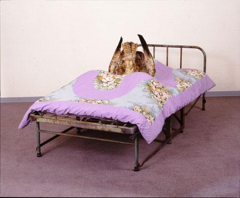 Recreation / bed, stuffed bird, bedding, etc. / 94x115x200cm / 1962 「レクリエーション」ベッド、剥製、布団ほか
