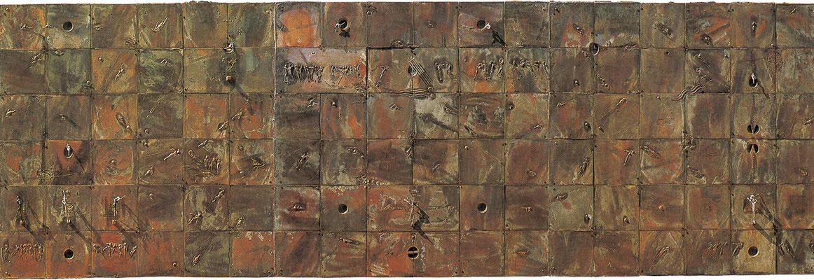 Polymaterial–Relief / bronze, silver / 120×360×10cm / 1988-89 ポリマテリアルーレリーフ / ブロンズ、銀