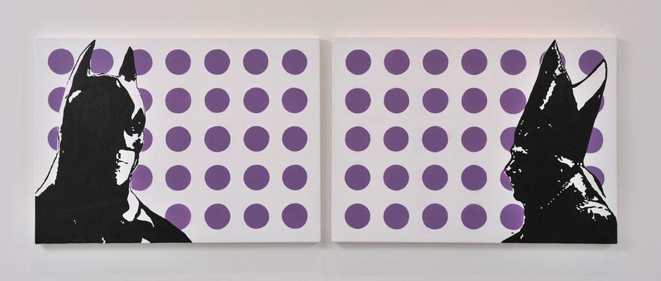 Batman VS Benedetto XVI / acrylic on fabric / 40 x 110 cm / 2012