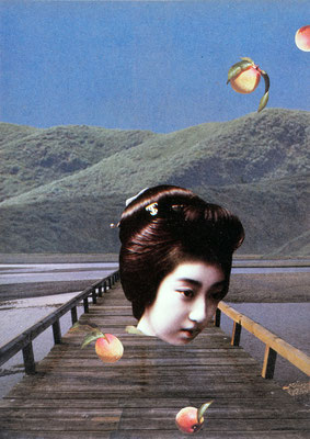 Bridge of Ephemeral / collage / 22.1x15.9cm / 1988 「蜻蛉橋」コラージュ