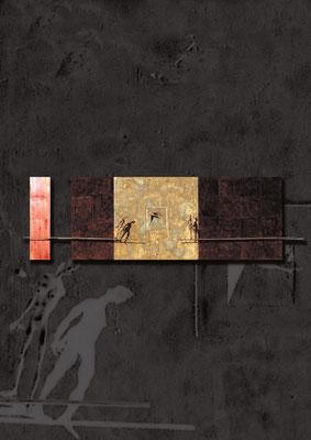 """""""Trittico"""" / bronze, iron, copper / 90×300cm / 1996—2012 トリプティク / ブロンズ、鉄、銅"""