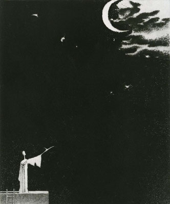Poet / etching, aquatint / 26.1×21.4cm / 1963 「詩人」エッチング・アクアチント
