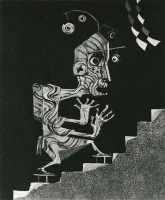 Deranged Man / etching, aquatint / 36.1×29.2cm / 1962 「狂った男」エッチング・アクアチント