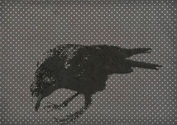 Crow / acrylic on tulle on canvas / 50 × 70 cm / 2013