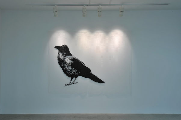 Cranky Crow / acrylic on tulle / 150 x 200 cm / 2017