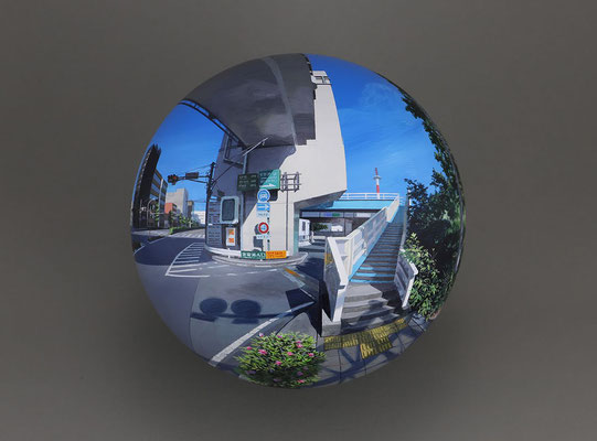 Flatball 2018 No.01 / acrylic paint, acrylic resin / φ17cm / 2018