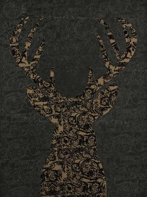 Dear Deer / acrylic and varnish on velvety silk / 90 x 120 cm / 2017