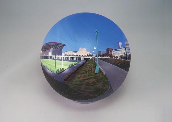 Flatball 2015 No.03 / acrylic paint, acrylic resin / φ17cm / 2015