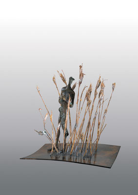 Awaiting / bronze, brass, copper / 30×26×26cm / 2003 期待 / ブロンズ、真鍮、銅