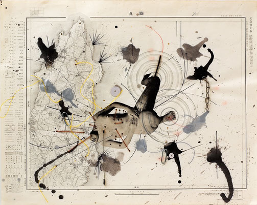 Guidebook / collage, topographical map / 38.5x47.5cm / 1962 「ガイドブック」コラージュ、地形図