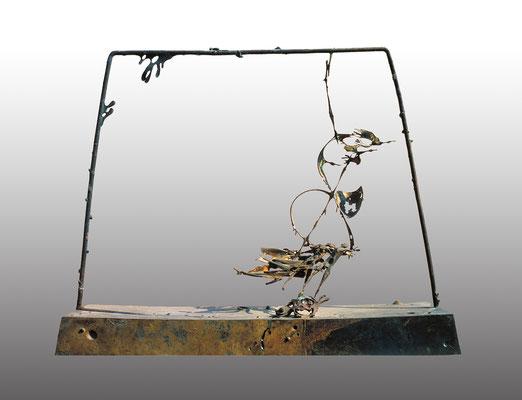 Night Flight / bronze, silver / 67.5×81.5×23cm / 1976 夜の飛翔 / ブロンズ、銀