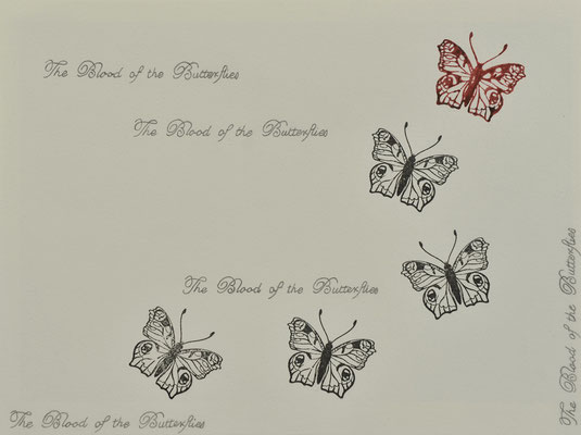 The Blood of the Butteries 1 / blood ink and pencil on carton / 20×30 cm / 2012
