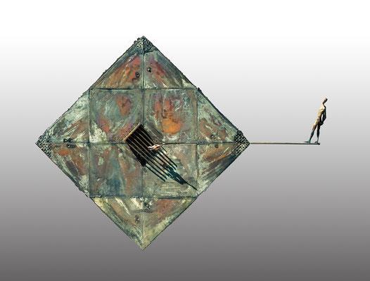 Tightrope Walker–Confrontation / bronze / 123×163×43cm / 1985-89 綱渡り師─対照 / ブロンズ