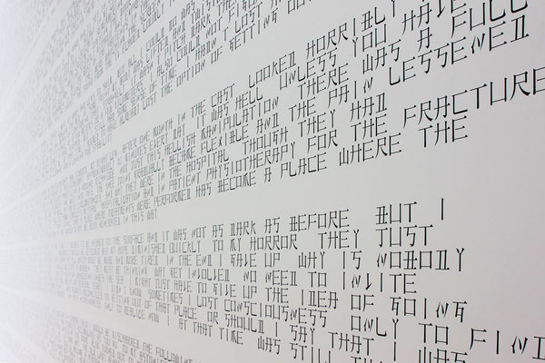 CNJPUS TEXT / PVC Sheets on wall and floor / 12.6 x 4.5 m / 2011 / Towada Art Center