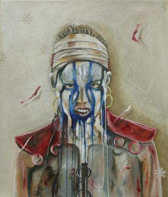 Die Kriegerin   120 cm x 100 cm, Öl auf Leinwand