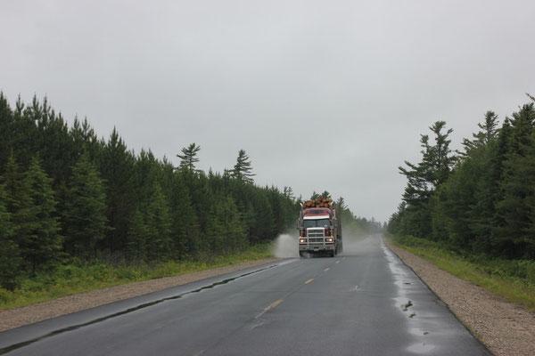 Die Lastwagen brausen einem hier nur so um die Ohren!