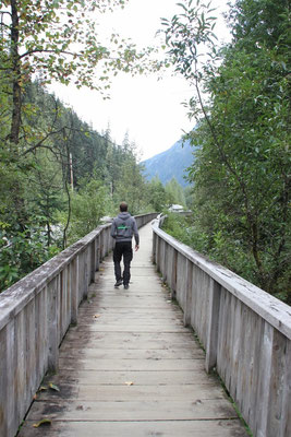 Der Boardwalk in Hyder am Salmon Creek
