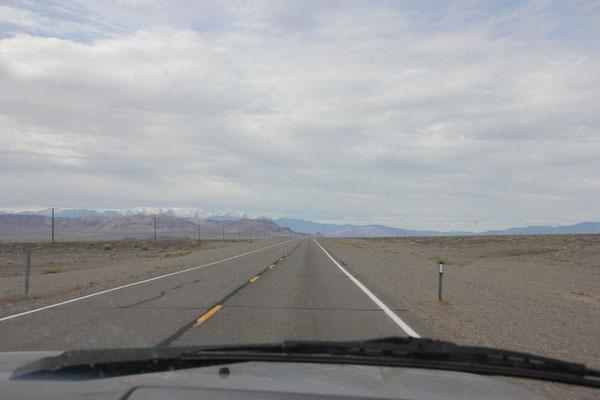 Eine Strasse durch die Leere Nevadas.