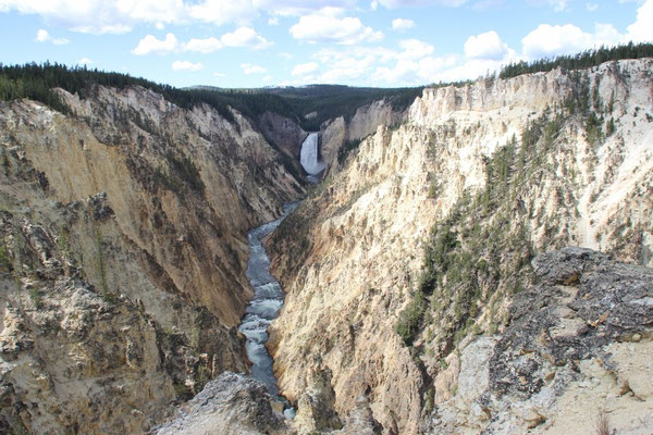 Der 93 m hohe Lower Fall im Grand Canyon of the Yellowstone. Was für ein Anblick!