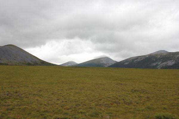 Weite offene Flächen gesäumt von Bergen