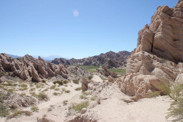 Nicht nur Reben, auch schöne Felsformationen gibt es hier zu sehen.
