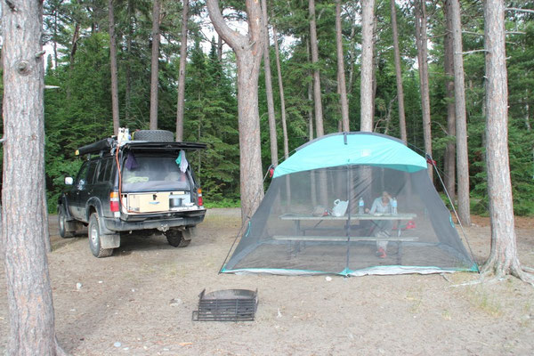 Unser Platz auf dem Camping im Lake Superior Provincial Park