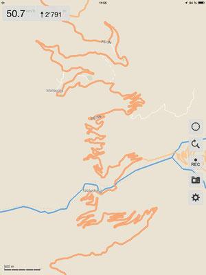 Einige Kartenausschnitte unserer gefahrenen Strecken...