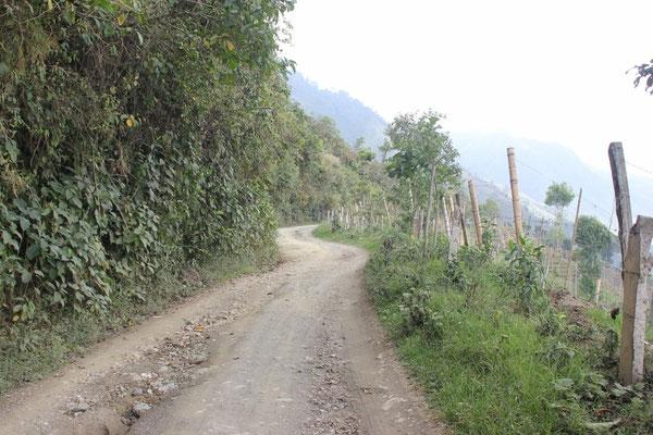 Schöne Schotterpiste von Cajamarca nach Salento.