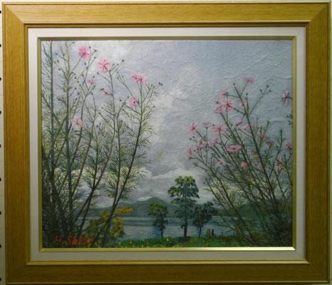 齋藤春枝:(和紙ちぎり絵)秋桜と田沢湖