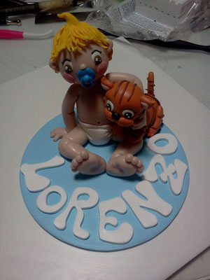 cake topper battesimo fimo