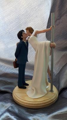 Cake topper sposi sposini pole dance fimo FIMOCHEPASSIONE